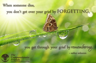 When someone dies, you don't get over your grief by forgetting...- Liselott Baeijaert -